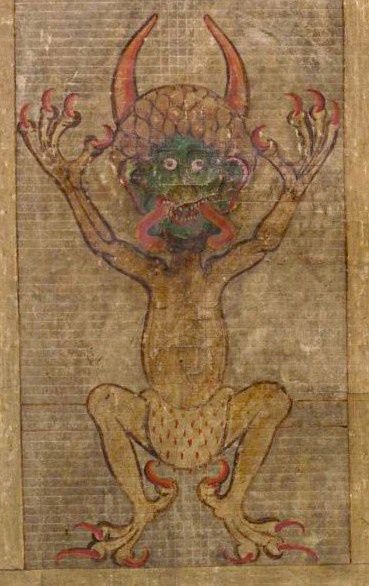 Rysunek diabła na str. 290. Legenda głosi, że manuskrypt ten został stworzony przez mnicha, który sprzedał duszę diabłu