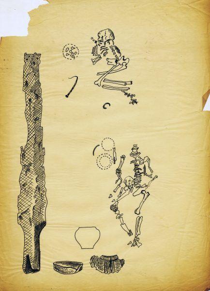 """Badania były profesjonalnie dokumentowane na tablicach ilustracyjnych. Na zdjęciu tablica z opracowania """"Wykopaliska na lewym brzegu Dunaju…"""""""
