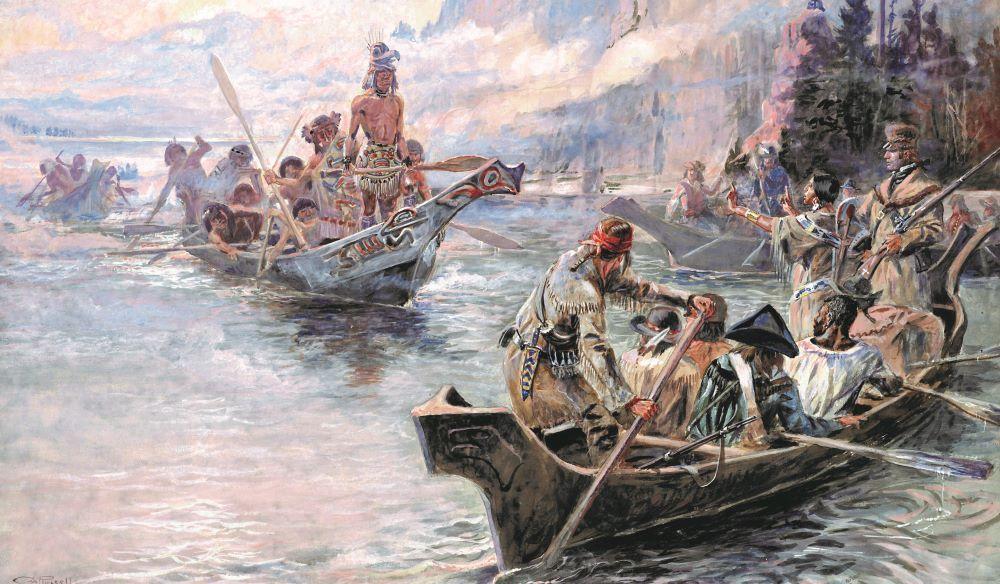 Lewis i Clark na rzece Kolumbia, obraz Charlesa Mariona Russella