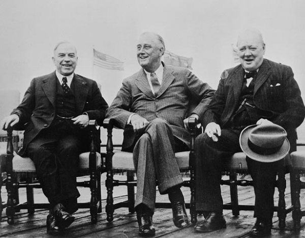 Mackenzie King, Franklin D. Roosevelt i Winston Churchill. Quebec 1943.