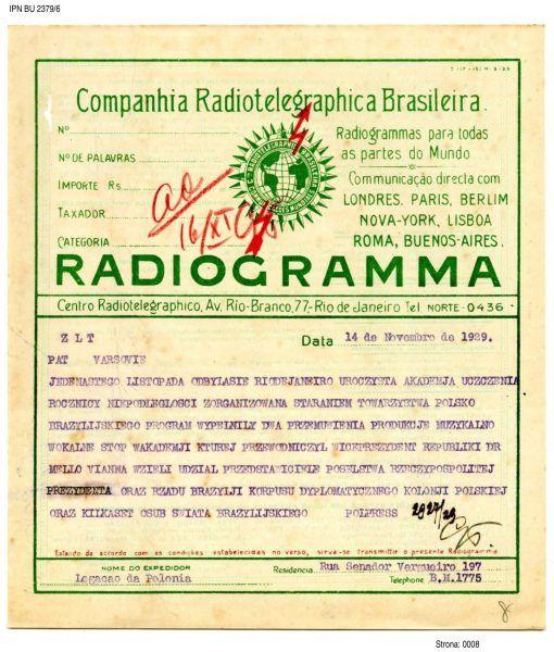 Radiotelegram z informacją o obchodach rocznicy w Brazylii