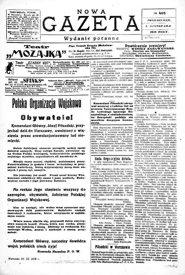 11 Listopada 1918 Roku O Czym Pisały Polskie Gazety Gdy