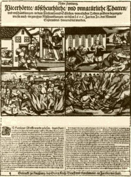 """Gazeta """"Newe Zeyttung"""" z drzeworytami ilustrującymi aferę grabarzy"""