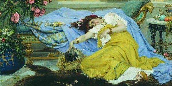 Fulwia kazała przynieść sobie głowę Cycerona, a następnie przebiła jego język złotą szpilką do włosów.