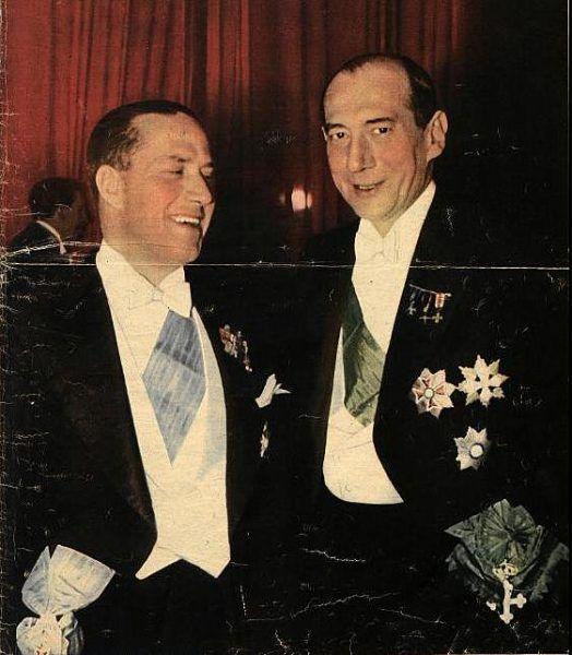 Galeazzo Ciano i Józef Beck podczas rautu w Pałacu Brühla w Warszawie (1939).