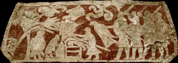 Scena z gotlandzkiego kamienia Stora Hammars mająca przedstawiać rytuał krwawego orła