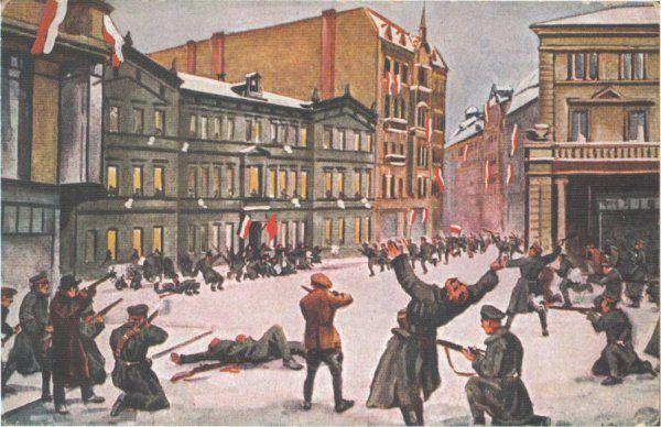 Obraz Leona Prauzińskiego przedstawiający zwycięski szturm na Prezydium Policji i śmierć Franciszka Ratajczaka