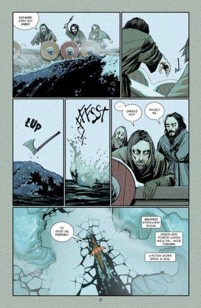 Wikingowie płyną w nieznane. Fragment komiksu