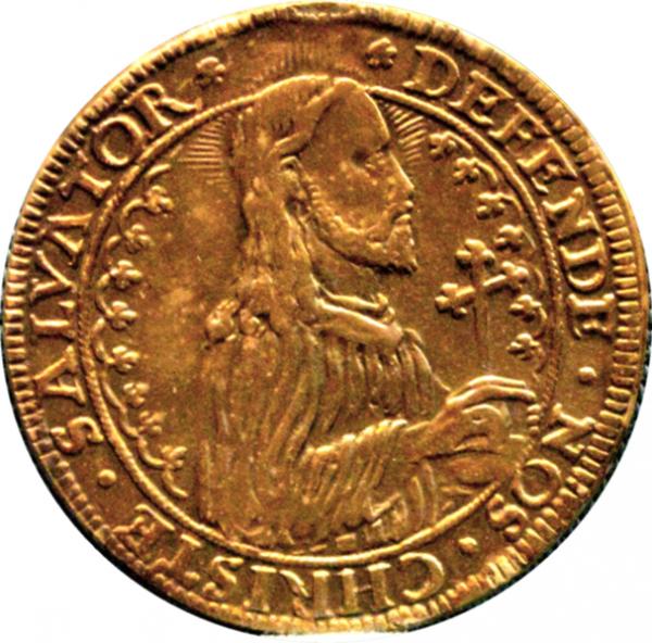 Talar wybity przez miasto Gdańsk w czasie oblężenia. Na awersie zamiast postaci króla Stefana Batorego, postać Jezusa Chrystusa