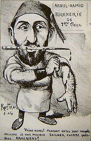 Karykatura francuska przedstawiająca sułtana Abdülhamida II jako rzeźnika