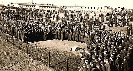Apel w obozie jenieckim Oflag II C Woldenberg