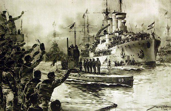 Triumfalny powrót U 9 do Wilhelmshaven po rejsie zakończonym zatopieniem trzech krążowników. Rysunek prof. Williego Stöwera.