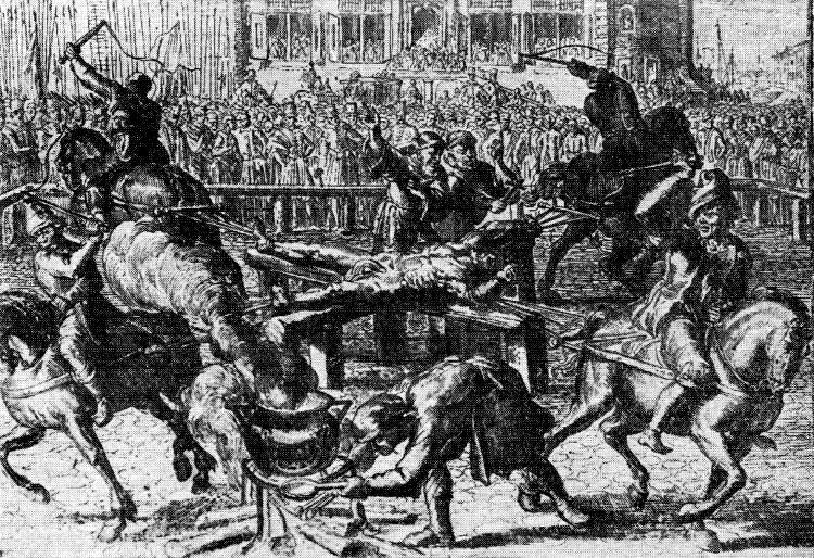 Rozerwane końmi ciało Piekarskiego spalono na stosie, a cztery armaty wystrzeliły jego popioły na cztery strony świata.