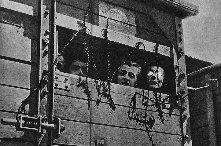Żydzi w wagonie towarowym w drodze do obozu zagłady