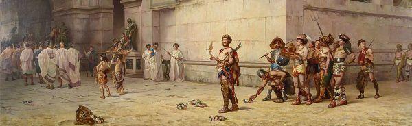 Cesarz Kommodus opuszcza arenę z głową gladiatora