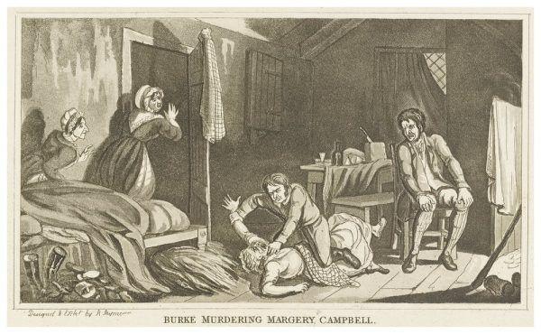 Ilustracja obrazująca ostatnie morderstwo Williama Burke'a, którego ofiarą była Margery Campbell