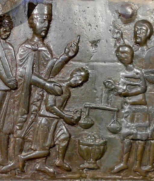 Bolesław I Chrobry wykupuje ciało Świętego Wojciecha z rąk Prusów, fragment Drzwi Gnieźnieńskich około 1170 roku