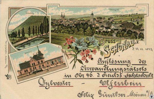 Pocztówka z końca XIX wieku, po lewej stronie wzgórze Willenberg
