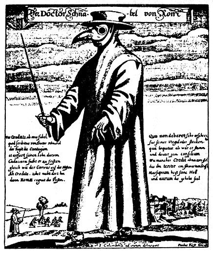 Charakterystyczny strój lekarza w czasie dżumy