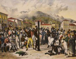 Publiczne biczowanie na placu Świętej Anny (Sao Paulo, Brazylia), obraz autorstwa Johanna Moritza Rugendasa