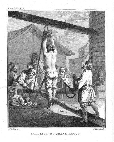 Kara chłosty, autor rysunku: Jean Baptiste Le Prince
