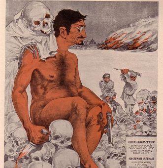 Lew Trocki i czerwony terror na polskim plakacie