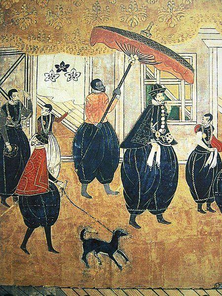 Czarnoskóra ludność w Japonii pojawiła się głównie jako niewolnicy