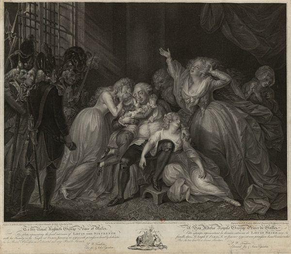 Ostatnia rozmowa Ludwika XVI z rodziną – rycina z 1795