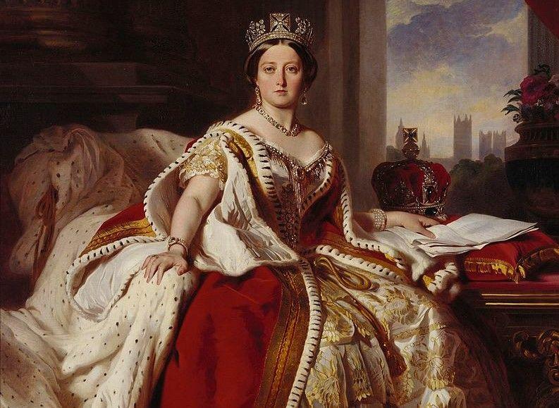Królowa Wiktoria w stroju koronacyjnym na obrazie F. X. Winterhaltera