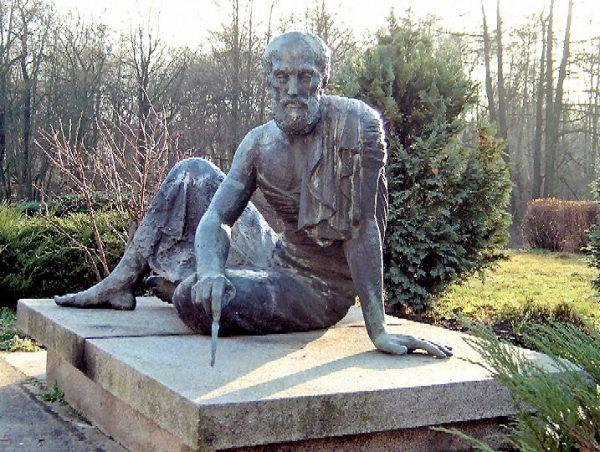 Pomnik przedstawiający Archimedesa – Berlin, Alt Treptow, ogród Obserwatorium Archenholda