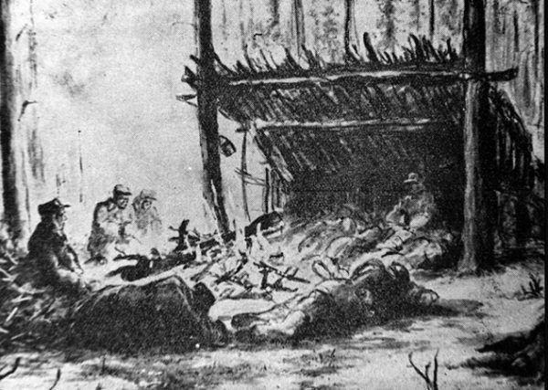Pierwsza faza budowy łagru w tajdze, do czasu postawienia baraków więźniowie spali w skleconych z gałęzi szałasach. Rysunek nieznanego łagiernika opublikowany w wydawnictwach II Korpusu.
