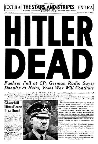 Okładka amerykańskiej gazety Stars and Stripes z maja 1945