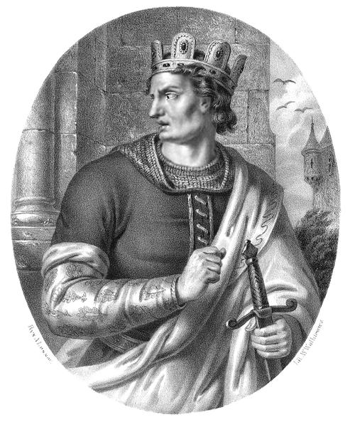 Bolesław II Śmiały, litografia W. Walkiewicza na podstawie rysunku Aleksandra Lessera.