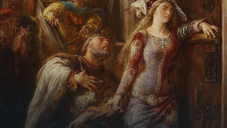 """Według Długosza Jadwiga była zrozpaczona ślubem z Władysławem Jagiełło. Na zdjęciu: """"Królowa Jadwiga i Dymitr z Goraja"""" obraz Jana Matejki, 1882 rok"""