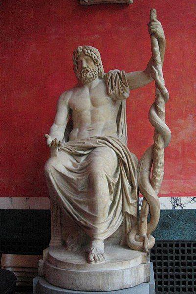 Posąg Asklepiosa z laską