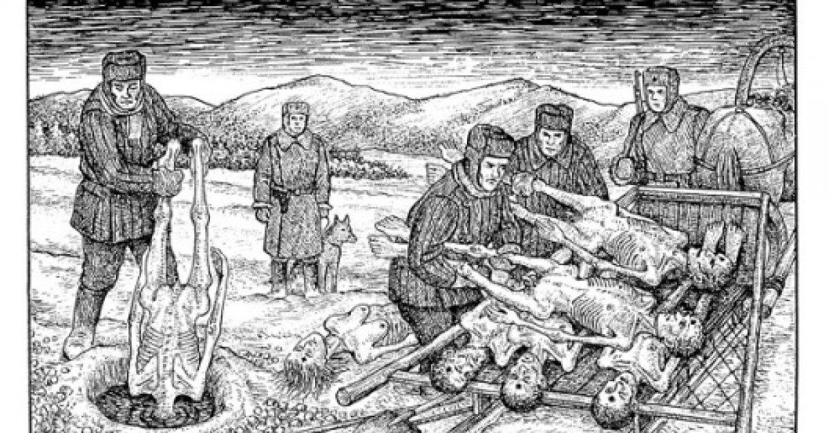 """Więźniowie łagrów sowieckich byli poddawani nieludzkim torturom. Ilustracja z książki """"Rysunki z gułagu"""" D. Baldaeva"""