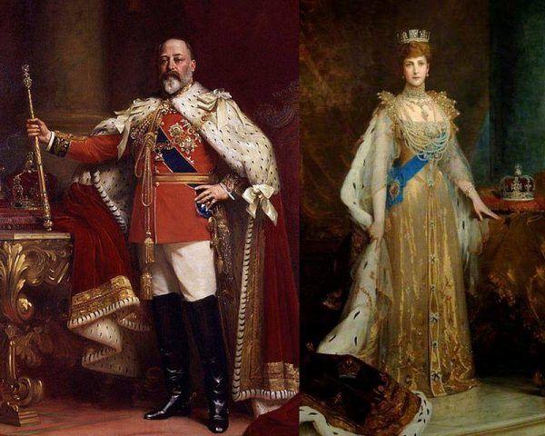 Edward VII i królowa Aleksandra w strojach koronacyjnych