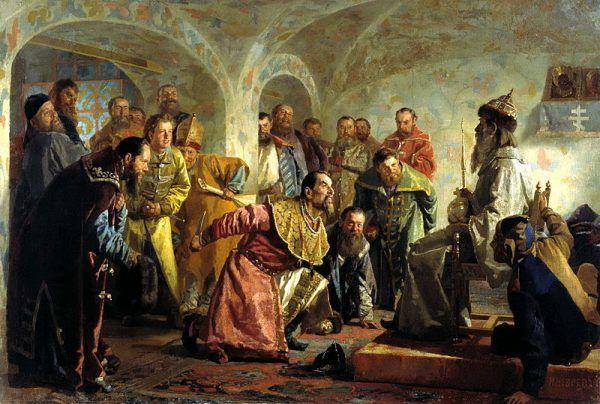 Iwan Groźny drwi z przywódcy bojarów Iwana Fiodorowa posadzonego na tronie w carskim przebraniu. Za chwilę Iwan zadźga nożem Fiodorowa.