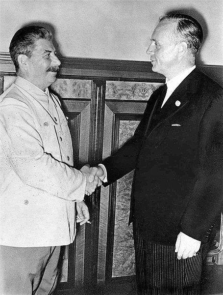 Pakt Ribbentrop Mołotow. Stalin i Ribbentrop. Moskwa 23.08.1939