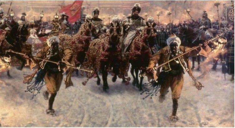 """W Rzeczypospolitej spotkać można było całkiem sporo osób czarnoskórych. Obraz """"Wyjazd Jana III i Marysieńki z Wilanowa"""""""