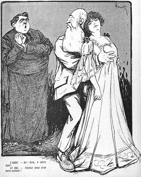 Karykatura ośmieszająca Leopolda II i jego romans z małoletnią prostytutką
