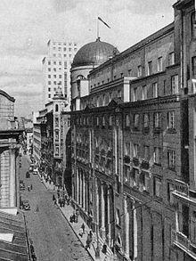 Ulica Świętokrzyska przed 1939, widok w kierunku wschodnim