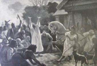 O wierzeniach Słowian wiemy bardzo niewiele. Obraz Józefa Ryszkiewicza Wróżba przed bitwą