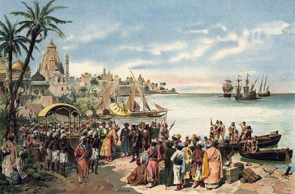Przybycie Vasco da Gamy do Kalikat w 1498 roku, autor obrazu Roque Gameiro