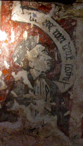 Nauczycielem dzieci Kazimierza Jagiellończyka został Jan Długosz. Na fotografii domniemany wizerunek Jana Długosza na fresku z końca XV wieku w Domu Długosza w Wiślicy