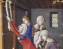 W trakcie porodu królowej Marii Teresy w pomieszczeniu przebywało kilka tuzinów dworzan: księżniczek, książąt, urzędników.
