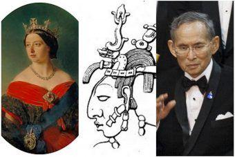 Czy na pewno znasz wszystkich najdłużej panujących władców? Od lewej: królowa Wiktoria, K'inich Janaab' Pakal, Rama IX