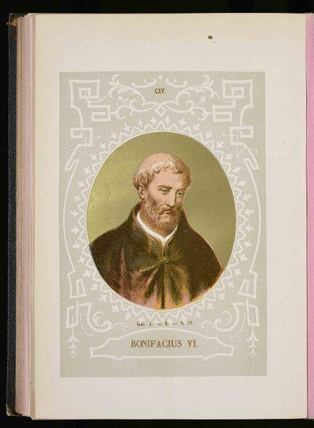 Bonifacy VI po dwóch tygodniach urzędowania zmarł na podagrę, choć inna wersja mówi, że został otruty.