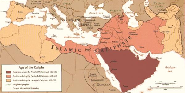 Historia ekspansji islamu, na mapie współczesnych państw.