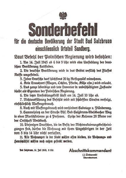 Obwieszczenie dla niemieckiej ludności Szczawna Zdroju na Dolnym Śląsku o wysiedleniu.